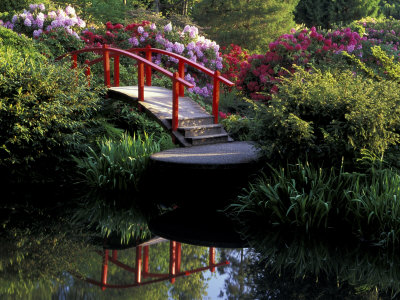 Moon Bridge and Pond in a Japanese Garden, Seattle, Washington, USA Stretched Canvas Print
