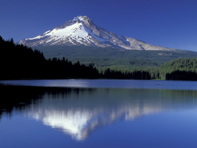 Mt. Hood Reflected in Trillium Lake, Oregon, USA Stretched Canvas Print
