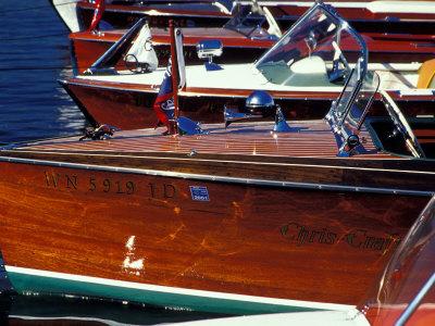 Vintage Wood Boats, Lake Union, Seattle, Washington, USA Stretched Canvas Print