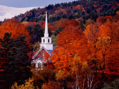 Autumn Colors and First Baptist Church of South Londonderry, Vermont, USA Stretched Canvas Print