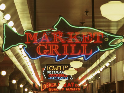 Neon Signs in Pike Place Market, Seattle, Washington, USA Stretched Canvas Print