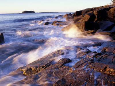 Sunlight Hits the Waves, Schoodic Peninsula, Maine, USA Stretched Canvas Print