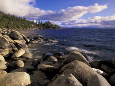 Shoreline of Boulders, Lake Tahoe, California, USA Stretched Canvas Print