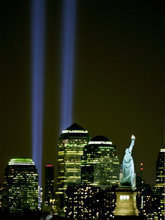 Two Beams of Light Light up the Sky Above Manhattan from Near the Site of the World Trade Center Stretched Canvas Print