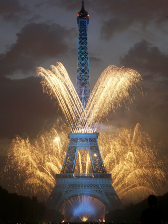 Fireworks Illuminate the Eiffel Tower Stretched Canvas Print