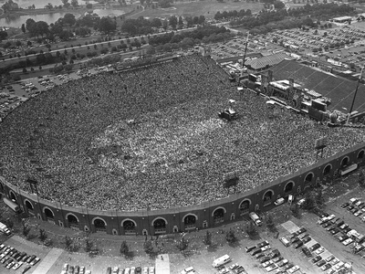 Fans Jam Philadelphia's Jfk Stadium During the Live Aid Concert Stretched Canvas Print