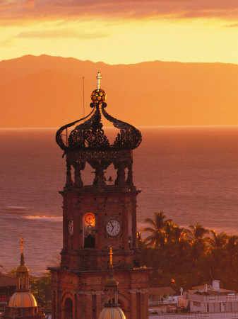 Tower of Nuestra Senora de Guadalupe at Sunset, and Bay of Banderas, Puerto Vallarta, Mexico Stretched Canvas Print
