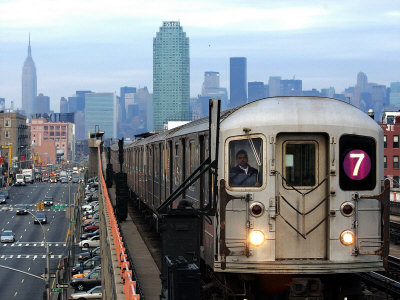 The Number 7 Train Runs Through the Queens Borough of New York Stretched Canvas Print