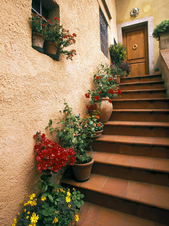 Tuscan Staircase, Italy Stretched Canvas Print