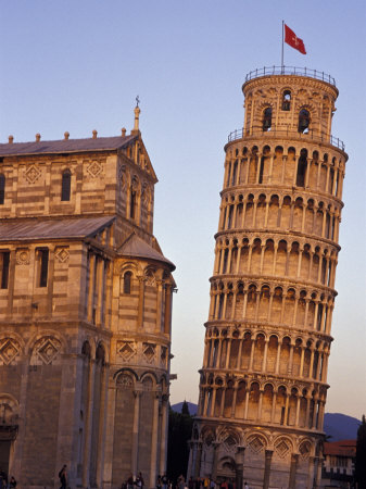 Leaning Tower of Pisa and Cathedral, Italy Stretched Canvas Print