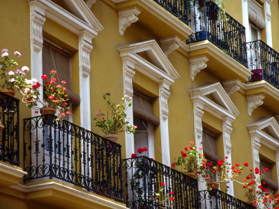 Spain, Sevilla, Andalucia Geraniums hang over iron balconies of traditional houses Stretched Canvas Print