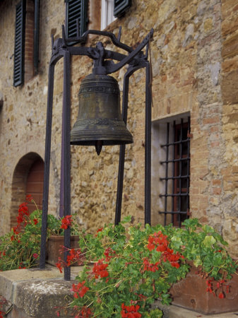 Bronze Bell, Geraniums and Farmhouse, Tuscany, Italy Stretched Canvas Print
