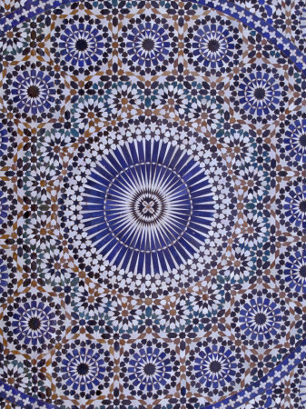 Zellij (Geometric Mosaic Tilework) Adorn Walls, Morocco Stretched Canvas Print