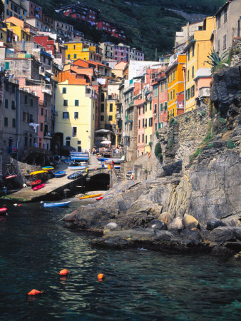Harbor View of Hillside Town of Riomaggiore, Cinque Terre, Italy Stretched Canvas Print