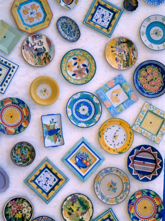 Ceramic Plates on Shop Wall, Algarve, Portugal Stretched Canvas Print