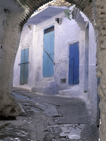 Blue Doors and Whitewashed Wall, Morocco Stretched Canvas Print