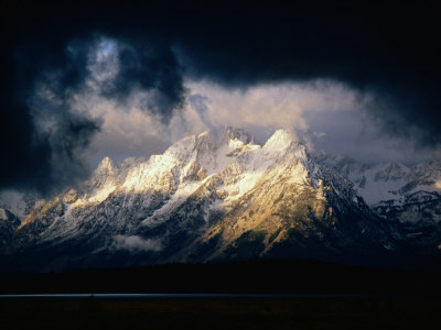 Storm Clouds Over Snow-Capped Mountain, Grand Teton National Park, USA Stretched Canvas Print