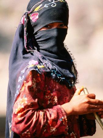 Portrait of Muslim Woman in Headscarf, Wadi Surdud, Yemen Stretched Canvas Print