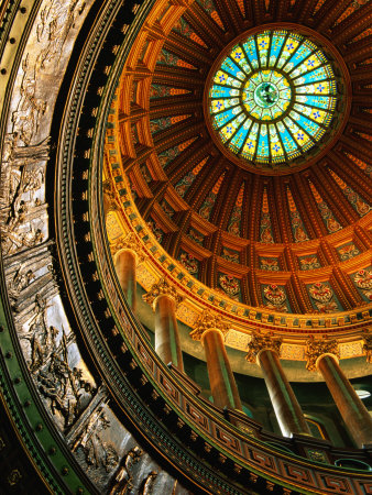 Interior of Rotunda of State Capitol Building, Springfield, United States of America Stretched Canvas Print