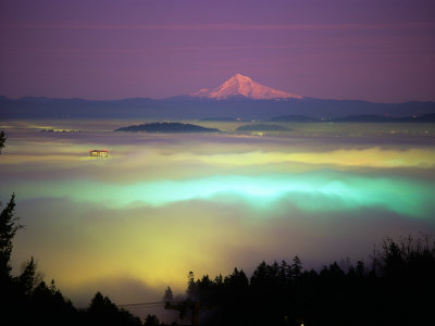 Willamette River Valley in a Fog Cover, Portland, Oregon, USA Stretched Canvas Print