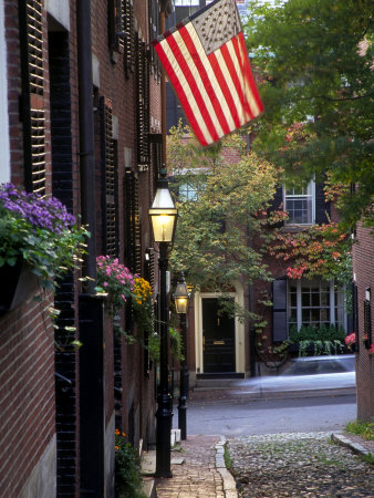 Cobblestone Street and Historic Homes of Beacon Hill, Boston, Massachusetts, USA Stretched Canvas Print