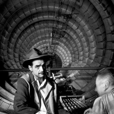Millionaire Howard Hughes in Cockpit of Huge Sea Plane, Spruce Goose, Which He Designed and Built Stretched Canvas Print