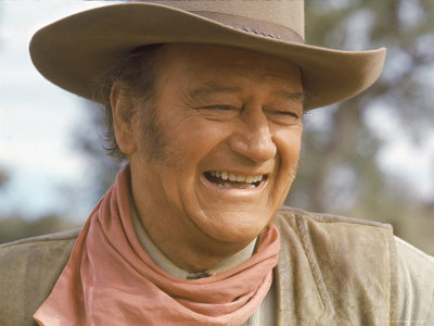 "Actor John Wayne During Filming of Western Movie ""The Undefeated"" Stretched Canvas Print"