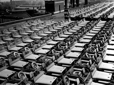 Rows of Finished Jeeps Churned Out in Mass Production for War Effort as WWII Allies Stretched Canvas Print