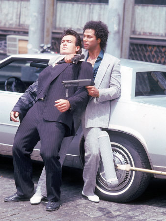 "Actors Philip Michael Thomas and Shooting Scene From Thomas's Television Series ""Miami Vice"" Stretched Canvas Print"