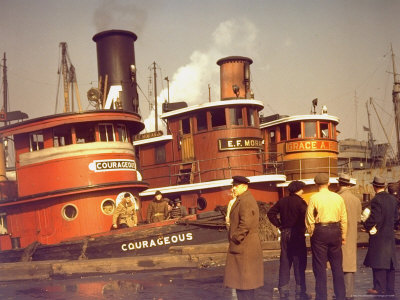 "Men at pier looking at 3 Tugboats, One Named ""Courageous"" with Crewmen on Deck Stretched Canvas Print"