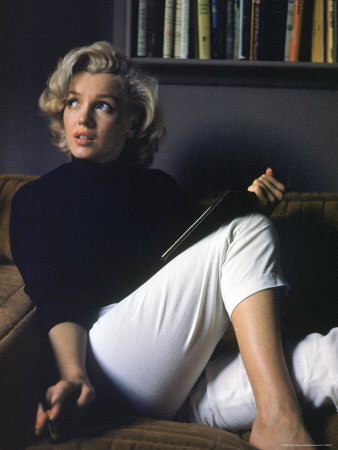 Marilyn Monroe Relaxing at Home Stretched Canvas Print