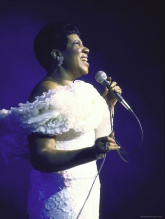 Singer Aretha Franklin Performing Stretched Canvas Print
