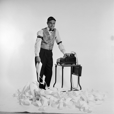 Promotional Shot for the Bob Newhart Show with Bob as Addled Accountant at an Adding Machine Stretched Canvas Print