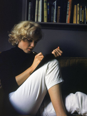 Marilyn Monroe Writing at Home Stretched Canvas Print