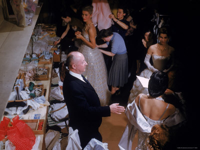 Fashion Designer Christian Dior and Staff at Rehearsal of New Collection Showing Stretched Canvas Print