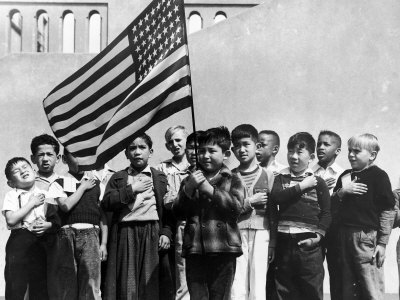 American Children of Japanese, German and Italian Heritage, Pledging Allegiance to the Flag Stretched Canvas Print