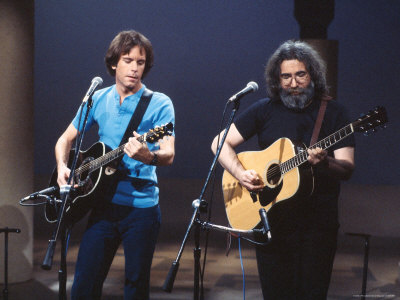 Musicians Bob Weir and Jerry Garcia of Rock Group Grateful Dead Performing Stretched Canvas Print