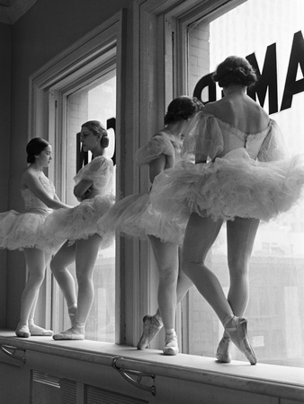 Ballerinas on Window Sill in Rehearsal Room at George Balanchine's School of American Ballet Stretched Canvas Print