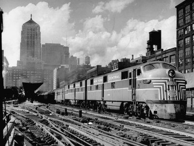 New York Central Passenger Train with a Streamlined Locomotive Leaving Chicago Station Stretched Canvas Print