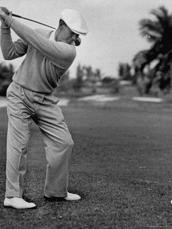Golfer Ben Hogan, Keeping His Shoulders Level at Top of Swing Stretched Canvas Print