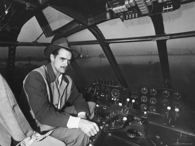 "Howard Hughes Sitting at the Controls of His 200 Ton Flying Boat Called the ""Spruce Goose"" Stretched Canvas Print"