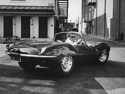 Actor Steve McQueen Driving His Jaguar Stretched Canvas Print