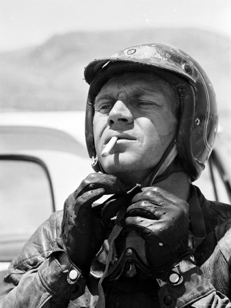 Actor Steve McQueen Putting on Helmet During 500 Mi. Motorbike Race Across Mojave Desert Stretched Canvas Print