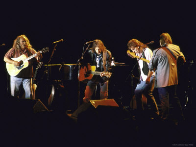 Musicians David Crosby, Neil Young, Graham Nash and Stephen Stills of Group Crosby Performing Stretched Canvas Print