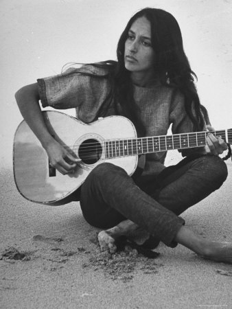 Folk Singer Joan Baez Strumming Her Guitar on the Beach Near Her Home Stretched Canvas Print