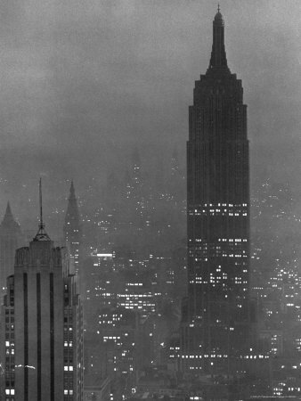 Silhouette of the Empire State Building and Other Buildings without Light During Wartime Stretched Canvas Print