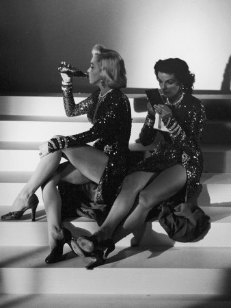 "Marilyn Monroe and Jane Russell During a Break While Filming ""Gentlemen Prefer Blondes"" Stretched Canvas Print"