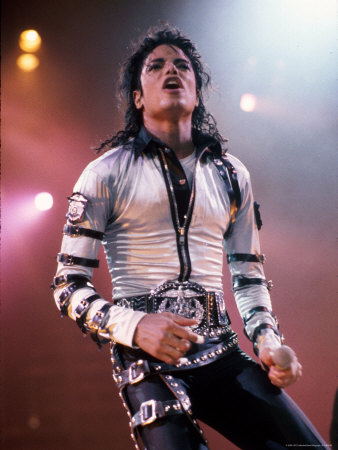 Singer Michael Jackson Performing Stretched Canvas Print