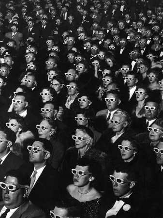 "3-D Movie Viewers during Opening Night of ""Bwana Devil"" Stretched Canvas Print"