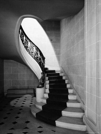 Staircase Inside Mansion Named Carolands, Built by Mrs. Harriet Pullman Carolan Schermerhorn Stretched Canvas Print